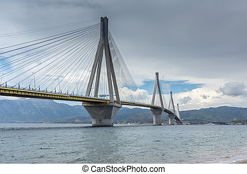 bridge between Rio and Antirrio - Panorama of The cable...