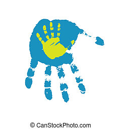 Hand print.Vector illustration - Hand print on a white...