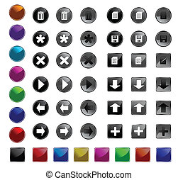 Set web buttons with icons. Vector