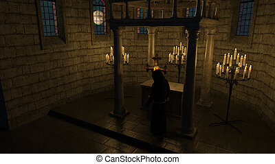 Monk - priest - in front of the cross in the chapel - 3D...