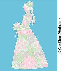 Bride silhouette colorful - Vector bride silhouette colorful