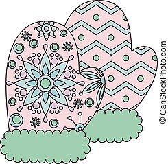 Mittens colorful - Vector mittens colorful