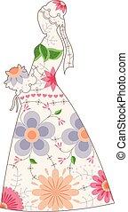 Bride silhouette vintage - Vector bride silhouette vintage
