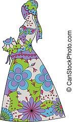 Bride silhouette colorful