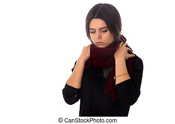Woman with vinous scarf - Young woman with dark hair in...