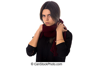 Woman with vinous scarf - Young serious woman with dark hair...