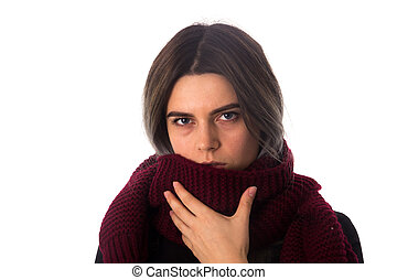 Sick woman with vinous scarf - Young sick woman with dark...