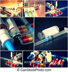 Collage of medical items. Ampules, pills, syringe