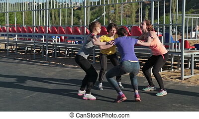 Girs squatting together crossfit - Girs squatting together,...