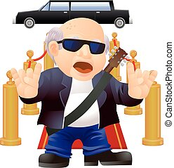 Senior rock star vector icon - Vector illustration of an old...