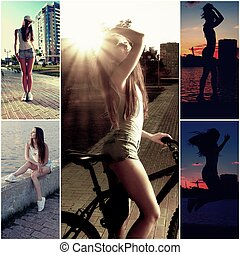 Young pretty happy woman in shorts posing outdoors in front of river, sunset, on bicycle