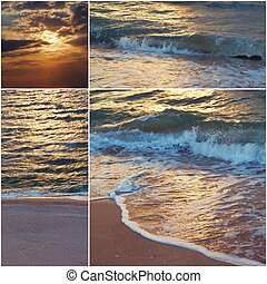 Collage of sea shots in sunset time toned images