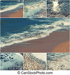 Collage of sea images in day time toned with copyspace -...