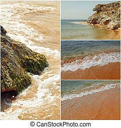 Collage of sea images in day time toned photos