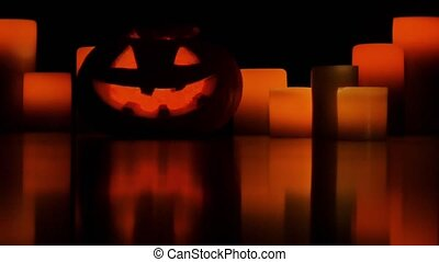 Helloween pumpkin and candles - Halloween pumpkin and...