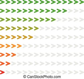Arrow level indicator with 9 steps from red to green