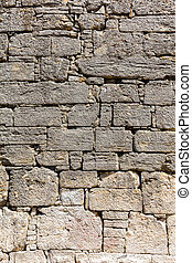 Ancient limestone wall - Limestone blocks in the wall of the...