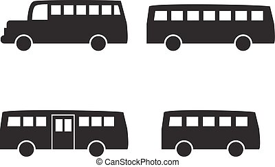 Set of big bus icons in simple silhouette style