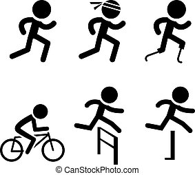 Running icons and symbol in vector design - Set of Running...