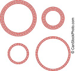Classic Chinese red round window and photo frame, vector