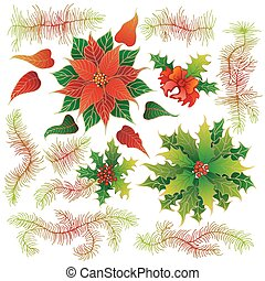 Christmas set of plants with flowers - Elements of Christmas...