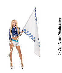 Race girl posing with flag. Isolated on white