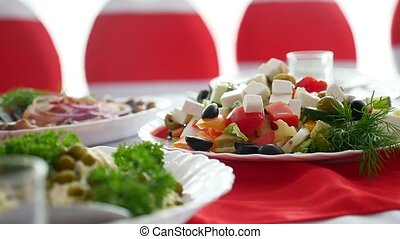 salad cheese green olives healthy breakfast in the restaurant video