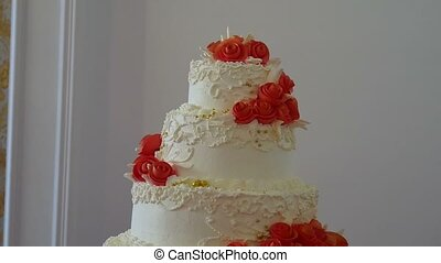video red wedding close-up cake dessert at a wedding feast -...