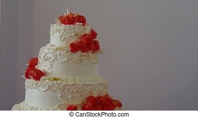 video red wedding cake close-up dessert at a wedding feast -...