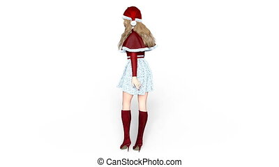 young woman with Santa Claus hat - Image of a young woman.