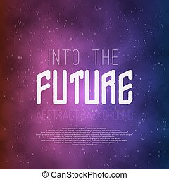 Into The Future Abstract 1980s Style Background. Neon Poster...