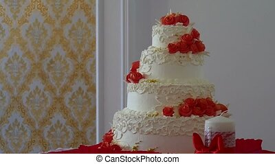 red wedding cake video close-up dessert at a wedding feast -...