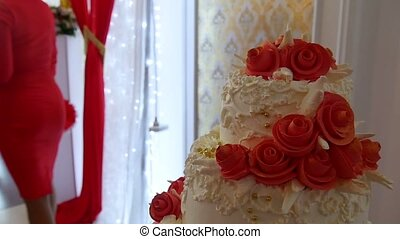 red video wedding cake close-up dessert at a wedding feast -...