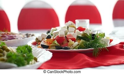 salad cheese green olives healthy breakfast in restaurant video