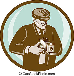 Photographer with hat aiming retro vintage camera done in...