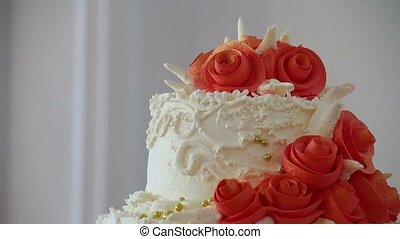 red wedding cake close-up dessert at a wedding feast video -...