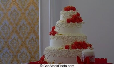 red wedding video cake close-up dessert at a wedding feast -...
