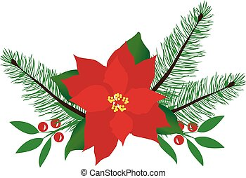Poinsettia - vector poinsettia Christmas card