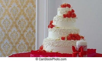 red wedding cake close-up video dessert at a wedding feast -...