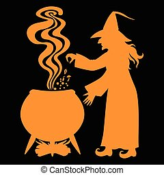 Witch brews a potion in a cauldron on black background -...