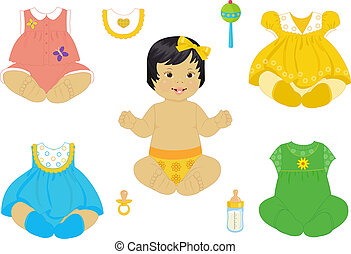 asian baby-girl - a asian baby-girl with a set of clothes