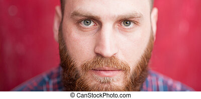 handsome man with beard looking at camera - beautiful...