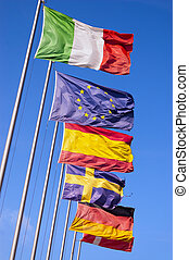 European Flags Flowing in the Wind
