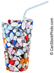Glass shape assembled of drugs and pills with straw....