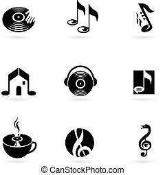 Simple music icons and logos - Nine simple music icons and...