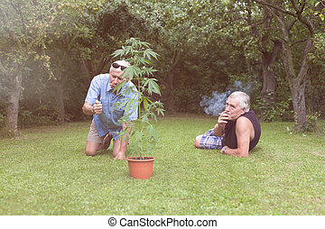 Seniors smoking marijuana and relaxing in the garden - Two...