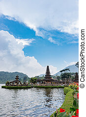 Pura Ulun Danu Bratan, Hindu temple on Bratan lake, Bali...