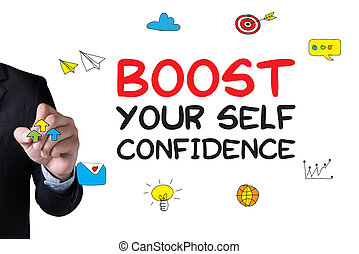 BOOST YOUR SELF CONFIDENCE and Businessman drawing Landing...