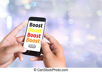 Boost person holding a smartphone on blurred cityscape...