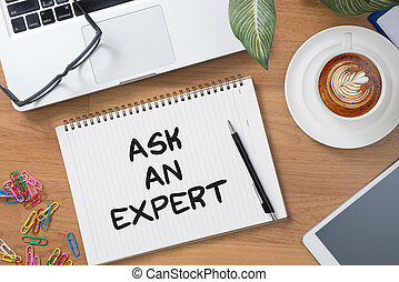 ask an expert Tablet with blank black screen and coffee cup